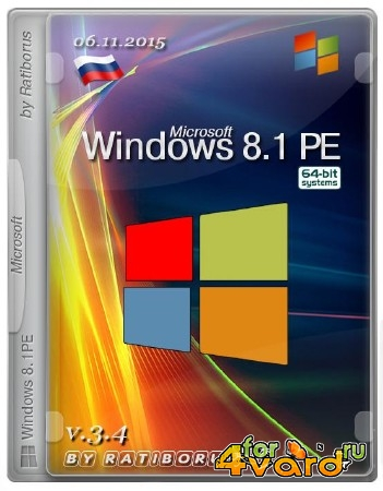 Windows 8.1 PE v.3.4 by Ratiborus (x64/2015/RUS)